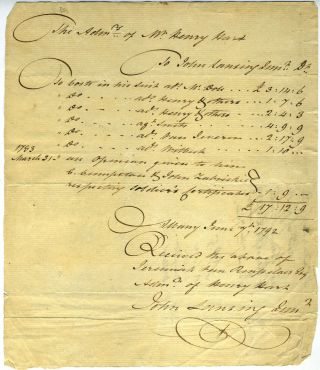Legal Receipt for administering the estate of Mr. Henry Hart. Law, New York State