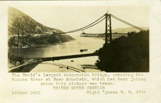 Advertising real photo postcard, the construction of the Bear Mountain Bridge.
