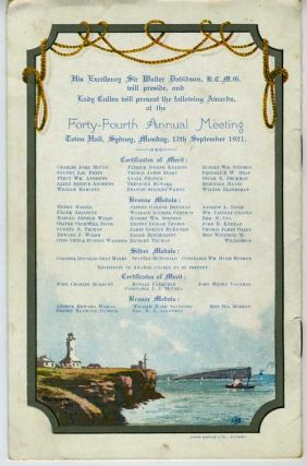 Royal Shipwreck Relief and Humane Society of N. S. W. 44th Annual Meeting, September 12th, 1921.