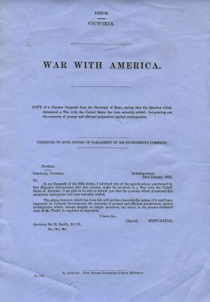 War with America. Australia Parliamentary Blue Papers Victoria
