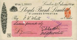Autograph check from Shackleton fom his Imperial Trans-Antarctic Expedition, signed by...