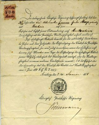 1878 Prussian Travel Document allowing Gunmann Haege to emigrate to Australia from Berlin....