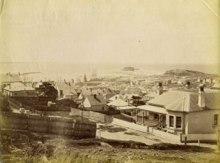 Newcastle, New South Wales. (Albumen photograph of a view across town towards Nobbys...