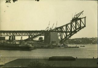 Sydney Harbour Bridge under construction. Photographs