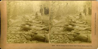 On the Firing Line at Dead Man's Bend, Imus Road, P. I. Philippines Stereoscopic view, Spanish...