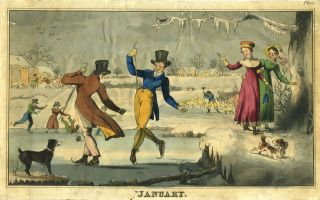 """January"" color aquatint of Male Ice Skaters on Pond with Women and dogs looking on."
