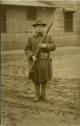Arthur Finley]. Postcard of this WWI soldier, at Fort Sherman, Chillicothe, Ohio. Real photo...