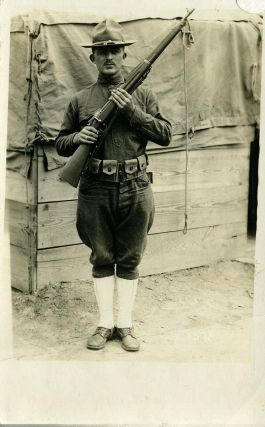 Photographic portrait of WWI soldier, Everett Totten. Real photo postcard