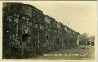 Wall on North Side of Manila (numbered 331) Real photo postcard. Philippines