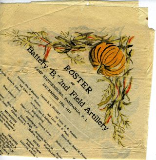 "Camp Stotsenburg Thanksgiving commemorative dinner napkin: ""Roster of Battery ""B,"" 2nd Field..."