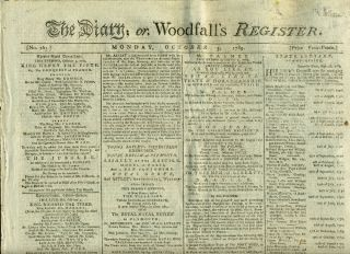 The Diary; or, Woodfall's Register: Newspaper including Advertisement for Theatre Royal, Covent...
