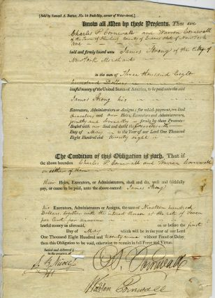 1829 Manuscript Obligations Binding Charles P. Cornwall and Warren Cornwall to James Strong,...