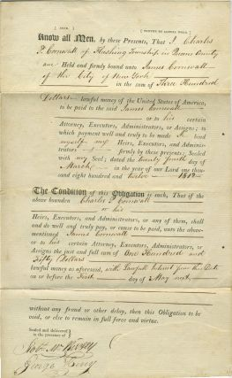 1812 Manuscript Obligations Binding Charles P. Cornwall to James Cornwall, Merchant of New York....