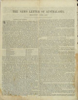 The News Letter of Australasia; or Narrative of Events: A Letter to Send to Friends. April 1858.