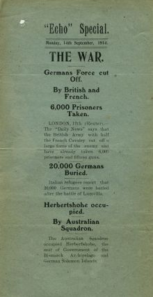 """Echo"" Special. Monday, 14th September, 1914. THE WAR, German Forces cut Off. By British and..."