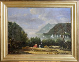 The Hudson Highlands from West Point; Oil Painting after Robert Weir. West Point, After Robert...