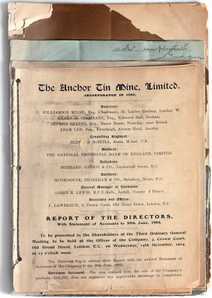 Tasmanian Mining Reports; Anchor Tin Mine, Jonah Mines, Mt. Bischoff Tin Mine, Mount Lyle Mining...