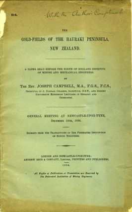 The Gold-Fields of the Hauraki Peninsula, New Zealand. Pamphlet. Joseph Rev Campbell