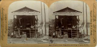 Stereoscopic view, Filipino Home, Pasig River and Bridge of Spain, Manila