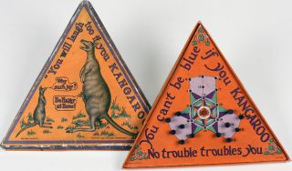 "Unusual triangular board game with pair of kangaroos and joey on front cover, printed with ""You..."