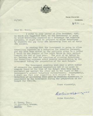TLS from Robert Menzies, regarding tax deductions for student tuition. Robert G. Menzies