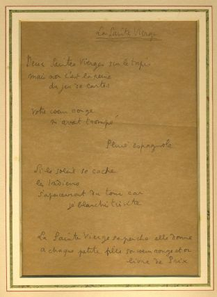 'La Sainte Vierge'. Manuscript of an unrecorded poem, written in Jean Cocteau's hand. Jean Cocteau.
