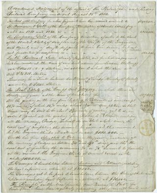 Philadelphia and Reading Railroad Company, letter including condensed balance sheet, August 1840, requesting funds for track completion.