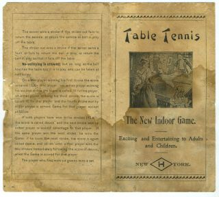 'Table Tennis. The New Indoor Game'