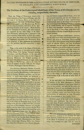 1832 Petition from Inhabitants of Newburgh, NY to Legislature requesting the establishment of an...