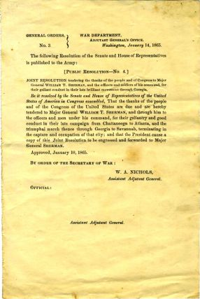 1865 Joint Resolution of the Senate and House of Representatives, tendering thanks to General...