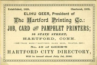 'Elihu Geer, President ... Job, Card and Pamphlet Printers'. Trade card with calendar