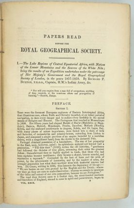 The Lake Regions of Central Equatorial Africa; the true 1st edition of Burton's important exploration, in the Journal of the Royal Geographical Society, Annual Issue for 1859, Vol. 29.