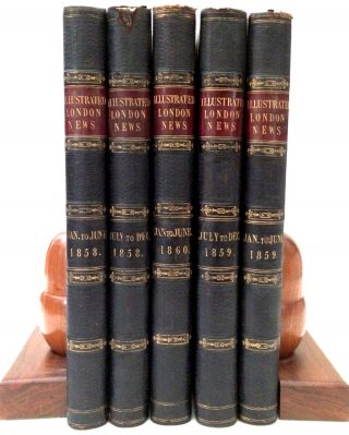 Five volumes of this influential and popular illustrated newspaper, with important content and many fine wood block engravings of China, Hong Kong, India and the US.