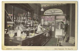 Sydney Australia, Steve Senhouse, 161 King St. (postcard showing the interior of Sydney shop)....
