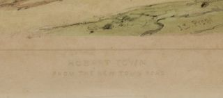 'Hobart Town from The New Town Road', Scarce color lithograph from 'Tasmania Illustrated'.