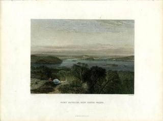 Port Jackson, New South Wales. Colored engraving. S. Prout, Samuel