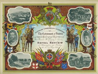 Four invitations celebrating the Opening of Parliament of the Commonwealth of Australia, some designed by prominent Australian artists; 'Opening of the Parliament of the Commonwealth by his Royal Highness The Duke of Cornwall and York'.
