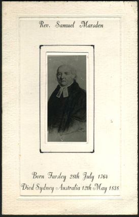 Rev. Samuel Marsden, memorial card with tipped on photograph. Australia