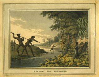 Hunting the Kangaroo. Color aquatint of New South Wales aborigines. Kangaroo, John Clark