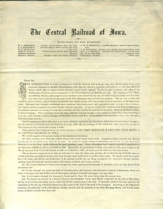 Preliminary Prospectus The Central Railroad of Iowa. Railroad, Iowa