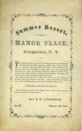 "Handbill for Summer Resort, ""Manor Place"" in Kingston, NY"