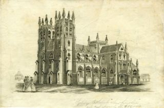 "Proof view of St. Andrew's Cathedral, with pencil annotation ""Sydney Cathedral when finished will..."