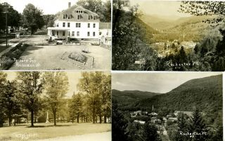 Nine Real-Photo Postcards with Scenes from Rochester, Vermont.