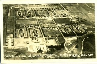 Aerial View of Camp Forsyth; Fort Riley, Kansas - Real Photo Postcard