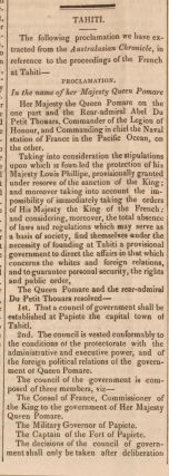 "Seed trade between Van Diemen's Land and the UK and vice versa and article on Queen Pomare agreeing to Tahiti becoming a French protectorate; in ""The True Colonist; Van Diemen's Land Political Despatch and Agricultural and Commercial Advertiser"""