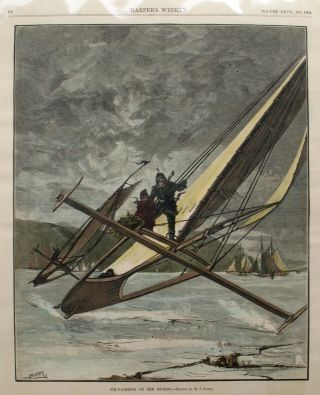 Ice Yachting on the Hudson, a full page spread from Harper's Weekly. M. J. Burns, Ice Yachting...