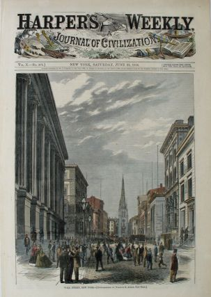 Wall Street, New York, a full page spread from Harper's Weekly. William B. Austin