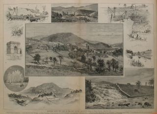 Sketches Along the Line of the New Croton Aqueduct, a double page spread from Harper's Weekly....