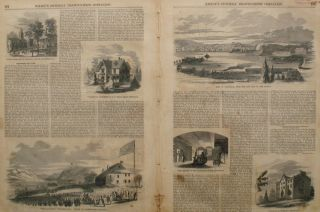 City of Newburgh, from the East Side of the Hudson, a double page spread from the Ballou's...