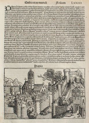 Pavia, Italy in the Liber chronicarum- Nuremberg Chronicle, an individual page from the Chronicle...